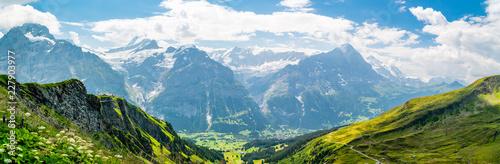 Beautiful panoramic alpine scenery in Swiss Alps near Grindelwald Canvas Print