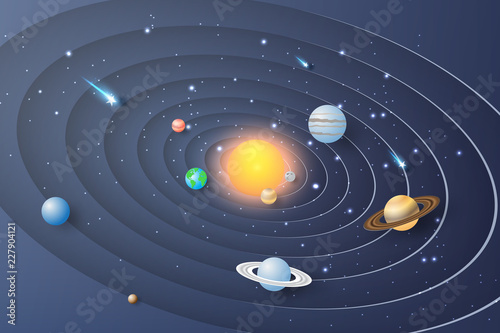 Paper art of Solar system circle background Fototapet