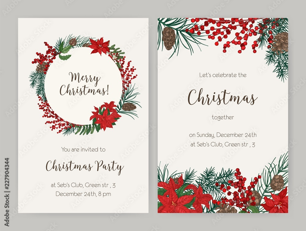 Fototapeta Set of Christmas flyer or party invitation templates decorated with coniferous tree branches and cones, holly leaves and berries, poinsettia. Vector illustration for celebratory event announcement.