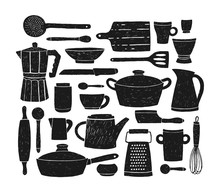 Bundle Of Glassware, Kitchenware And Cookware. Set Of Black Silhouettes Of Kitchen Utensils Or Tools For Home Cooking Isolated On White Background. Monochrome Vector Illustration In Doodle Style.