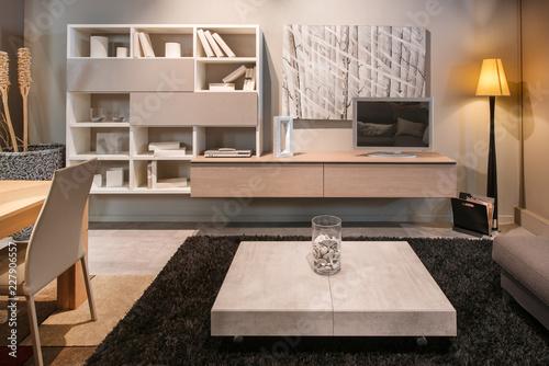 Fényképezés  Modern living room interior with dining table