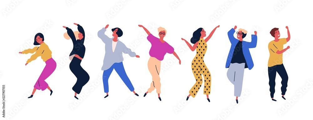 Fototapety, obrazy: Group of young happy dancing people or male and female dancers isolated on white background. Smiling young men and women enjoying dance party. Colorful vector illustration in flat cartoon style.
