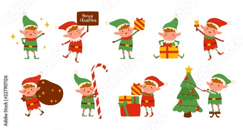 Collection of Christmas elves isolated on white background Poster Mural XXL