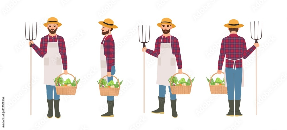 Fototapeta Farmer isolated on white background. Agricultural worker wearing apron and straw hat holding basket full of harvested vegetables and pitchfork. Front, back and side views. Cartoon vector illustration.
