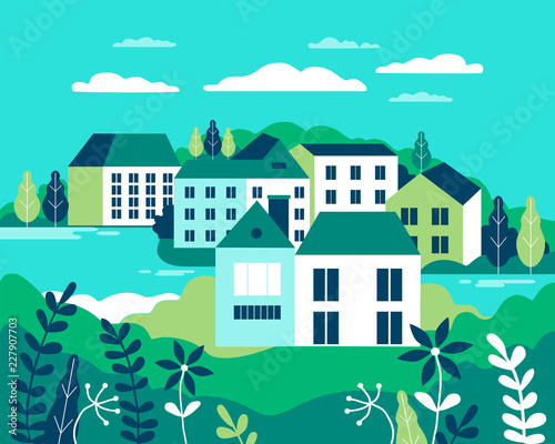 Foto op Aluminium Groene koraal Village landscape flat vector illustration. Buildings, hills, lake, flowers and trees, abstract background for header images for websites, banners, covers