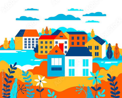 Wall Murals Green coral Village landscape flat vector illustration. Buildings, hills, lake, flowers and trees, abstract background for header images for websites, banners, covers