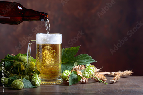 Mug of beer, grain and hops on a old wooden table.