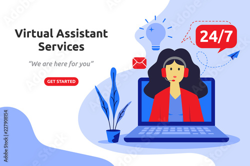 Online virtual assistant services concept modern flat design Wallpaper Mural