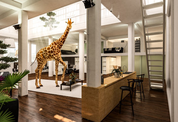 Giraffe wohnt in Loft