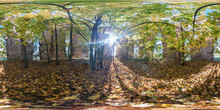 Full Seamless Spherical Cube 360 By 180 Degrees Angle View Panorama Inside Ancient Abandoned Destroyed Stone Tomb In Autumn Forest In Equirectangular Projection. Ready For VR AR Content