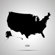 United states on America country map, simple black silhouette on gray