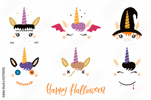 Photo Stands Illustrations Halloween set with cute unicorn faces, witch, vampire, zombie, Frankenstein, devil. Isolated objects. Hand drawn vector illustration. Flat style design. Concept for children print, party invitation