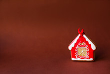 Christmas Gingerbread Cookie House. Holiday Sweets. Holidays Food And Decoration Concept.