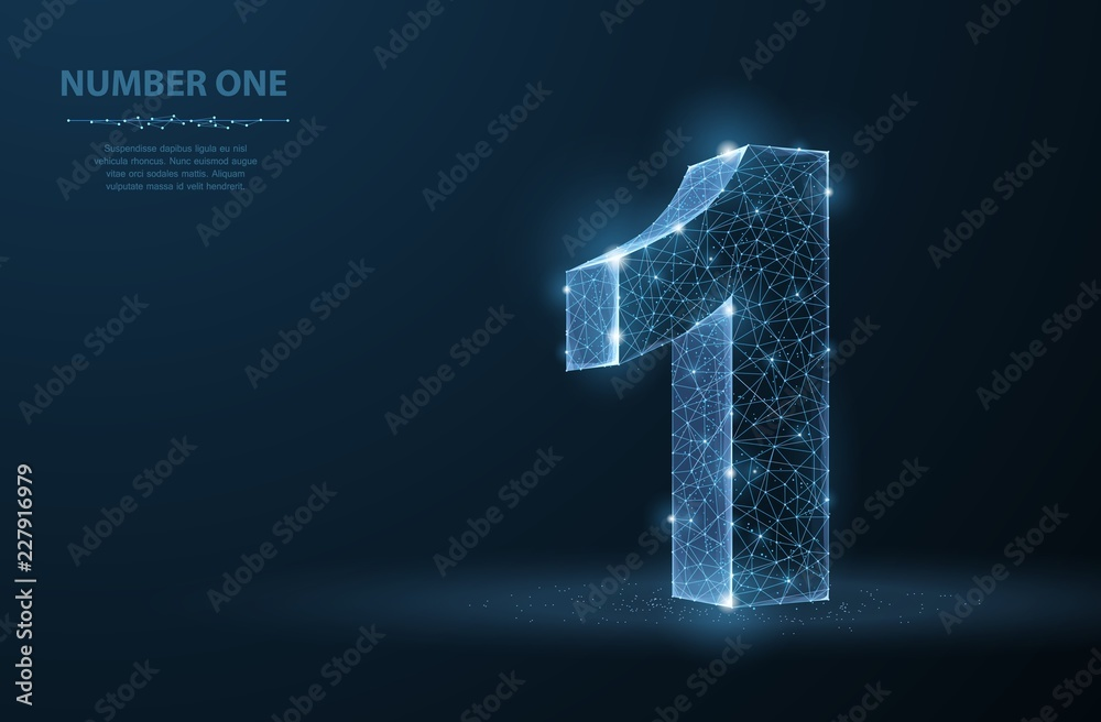 Fototapeta One. Abstract vector 3d number 1 illustration isolated on blue background. Celebration, success, winner, leader symbol.
