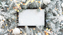 Christmas Frame Background With Xmas Tree. Merry Christmas Greeting Card, Banner. Winter Holiday Theme. Happy New Year. Space For Text. Flat Lay