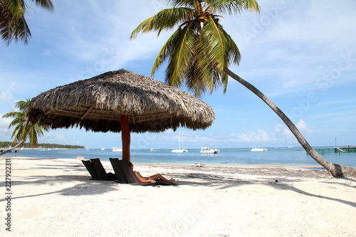 Photo  Girl lying under a palm tree on the beach