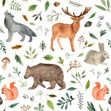 Watercolor Hand Painted Forest Animals. Brown Bear, Fawn, Rabbit, Wolf, Squirrel. Woodland Animals Seamless Pattern.