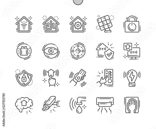 Photo Smart House Well-crafted Pixel Perfect Vector Thin Line Icons 30 2x Grid for Web Graphics and Apps
