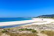 White sandy beach in Muros, Galicia, Spain.
