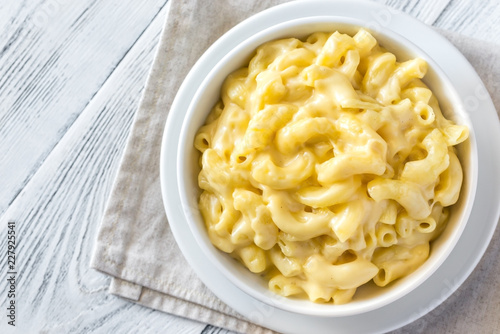Portion of macaroni and cheese