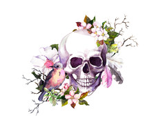 Human Skull With Cherry Blosso...