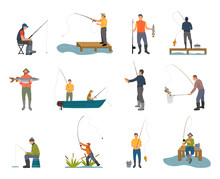 Fishers With Fishing Rod Set Vector Illustration