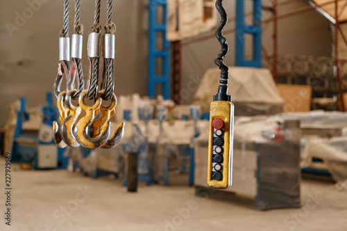 Movement remote control pendant switch for overhead crane in the factory Wallpaper Mural