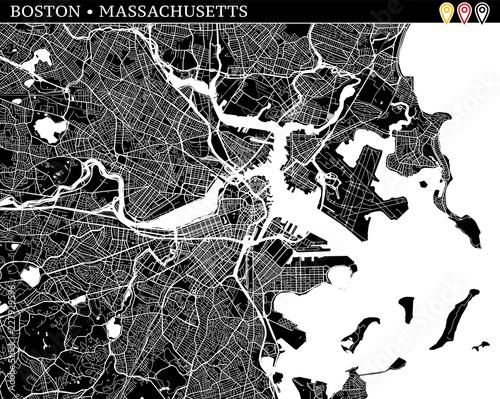 Valokuva  Simple map of Boston, Massachusetts