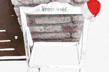 Christmas Wooden Welcome Sign Board Rack Covered In Snow And Decorated With A Santa Claus Hat