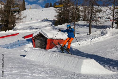 Fotografie, Obraz  Skier in Action: Ski Jumping in the Mountain Snowpark