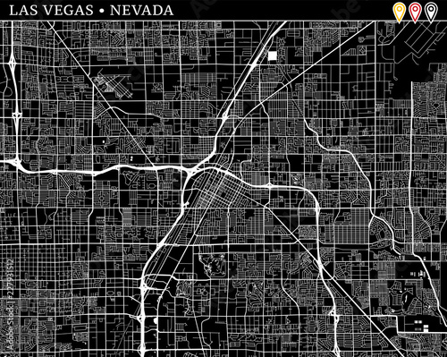 Fotografie, Obraz Simple map of Las Vegas, Nevada