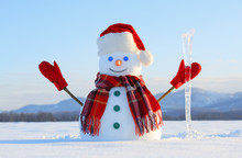 The Snowman In Plaid Scarf, Red Hat, Gloves And Icicle In The Hand. Nice Landscape With The Mountains On The Background. Field Covered With Snow. Cold Winter Day.