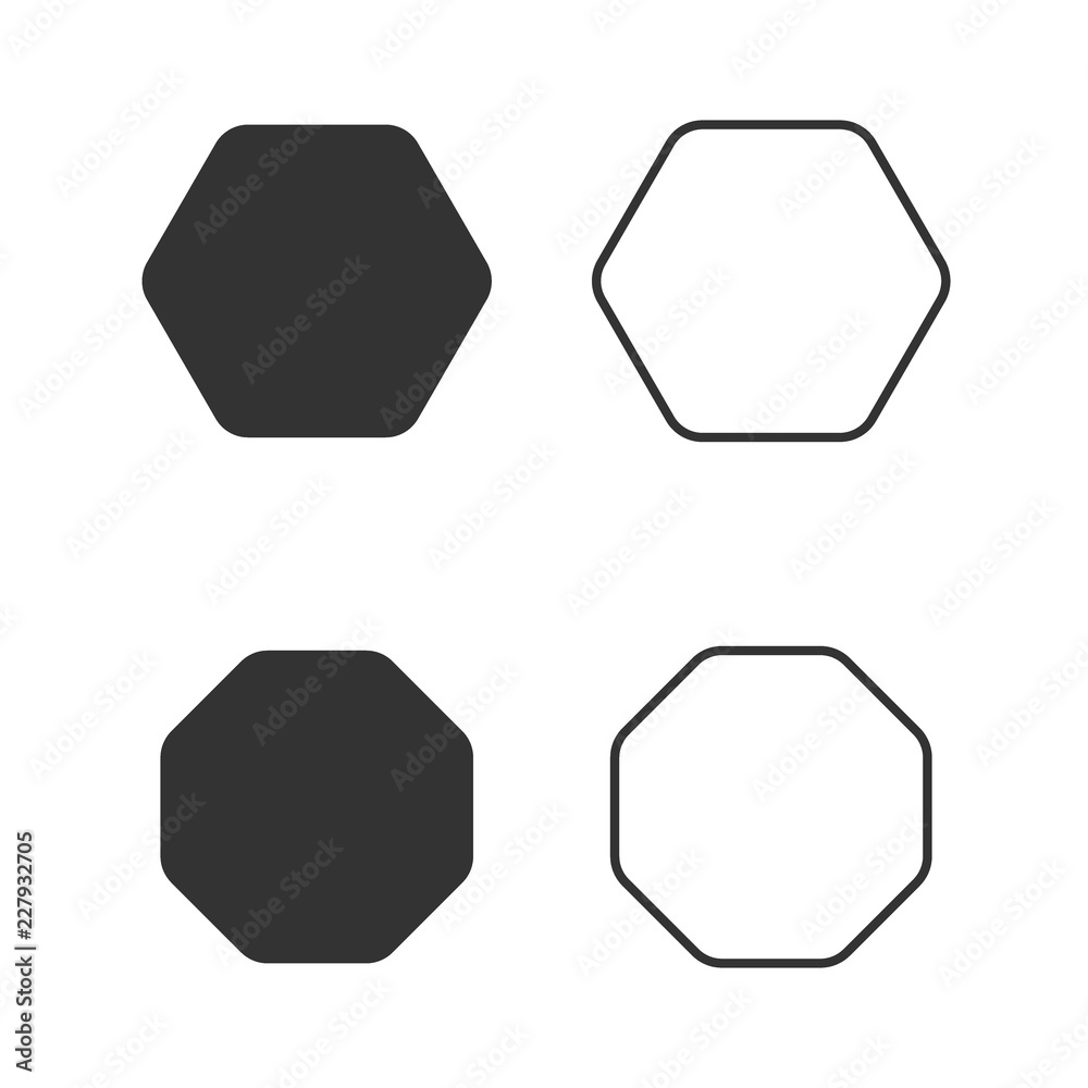 Octagon Icon Of Vector Geometry Octagonal Eight Sided Polygon