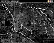 Simple Map Of Tucson, Arizona