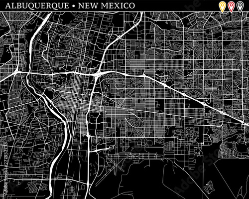 Simple map of Albuquerque, New Mexico Canvas Print