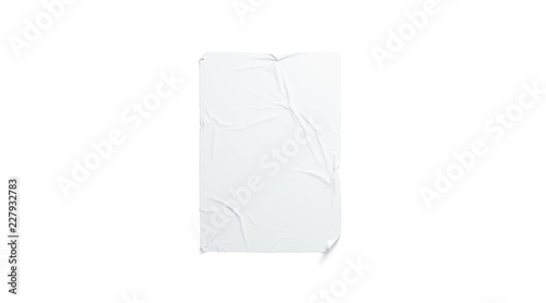 Obraz na plátně Blank white wheatpaste adhesive poster mockup, isolated, 3d rendering