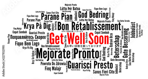 Fényképezés  Get well soon word cloud in different languages