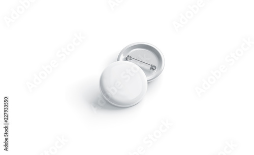 Fotografia, Obraz  Blank white round badge stack mockup, front view, isolated, 3d rendering