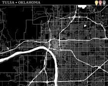 Simple Map Of Tulsa, Oklahoma