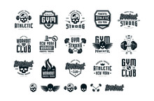 Set Of Emblems And Logo For Gy...