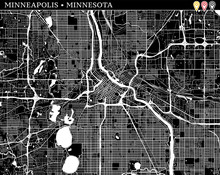 Simple Map Of Minneapolis, Min...