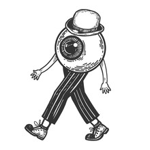 Human Eye Walks On Its Feet Engraving Vector Illustration. Scratch Board Style Imitation. Black And White Hand Drawn Image.
