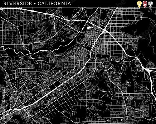 Simple map of Riverside, California Wallpaper Mural