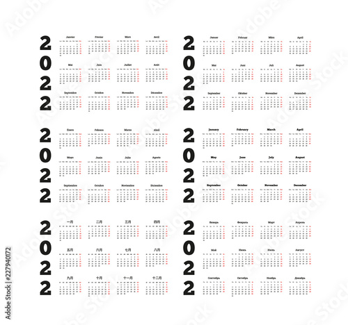 Fotografering  Set of 2022 year simple calendars on different languages like english, german, r