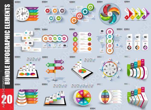 Bundle infographic elements data visualization vector design template Canvas-taulu