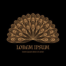 Luxury Background Vector. Gold Black Peacock Feathers Royal Pattern Frame. Oriental Logo Template Design For Beauty Spa Salon Flyer, Yoga Studio, Wedding Party Invitation, Holiday Greeting Card.