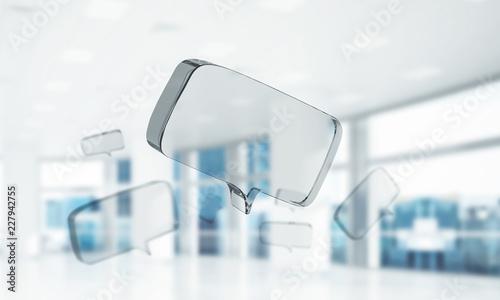 Obraz Concept of communication by glass empty chat icon on office back - fototapety do salonu