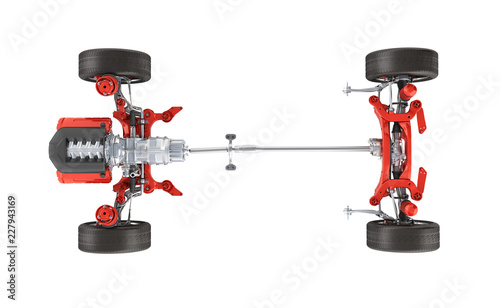 Suspension of the car with wheel and engine Undercarriage in detail top view iso Canvas Print