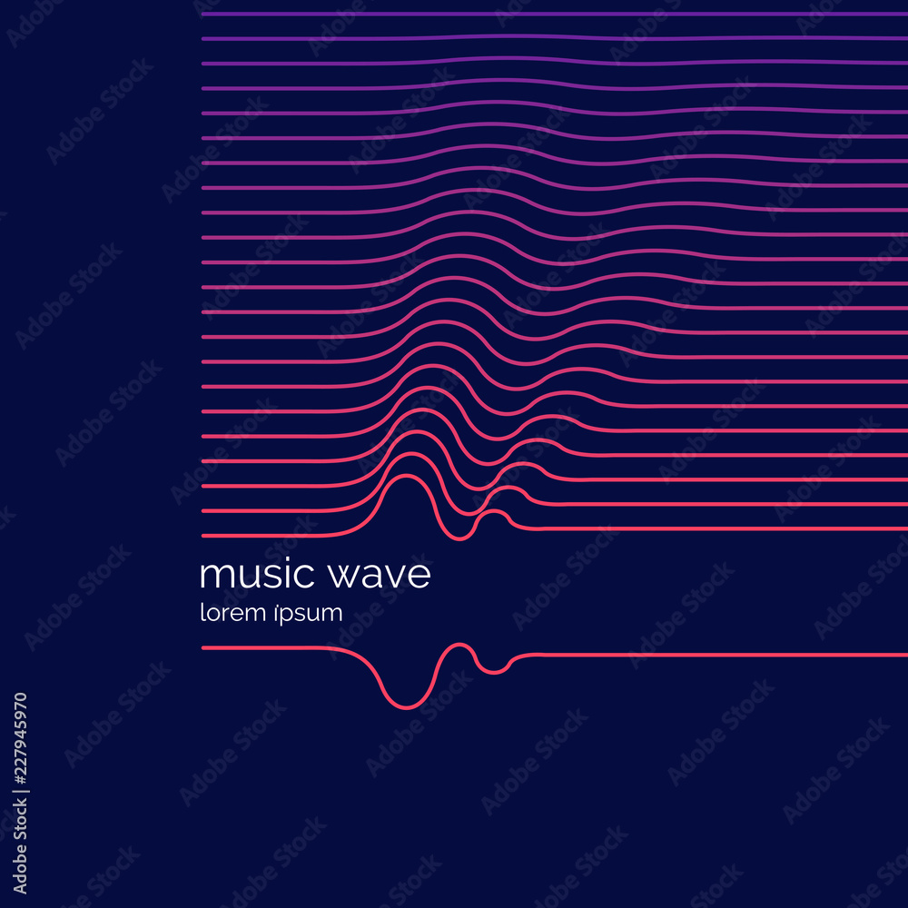 Abstract background with a dynamic musis waves.