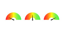 Customer Satisfaction Meter Speedometer Set. Vector Illustration.